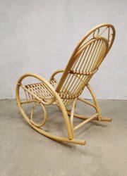 Vintage rattan rocking chair bamboo schommelstoel Rohe Noordwolde