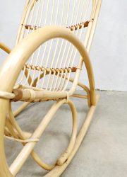 Vintage rattan rocking chair bamboo schommelstoel Rohe Noordwolde 'Swing'