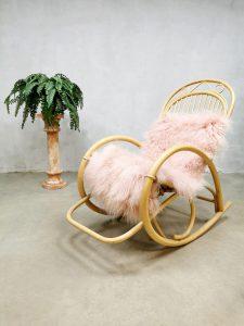 Rohe Noordwolde Dutch vintage design schommelstoel bamboo rotan rocking chair bamboo rattan