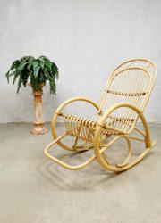 Vintage bamboo rocking chair bamboe schommelstoel Rohe Noordwolde