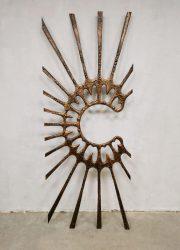 Vintage wall art sculpture wanddecoratie copper 'Sunset'