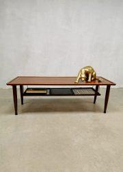 Scandinavian midcentury design coffee table salontafel teak webbing deens