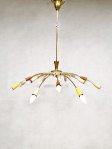 Italian mid-century brass chandelier pendant ceiling lamp Sputnik XL
