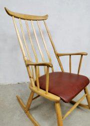 Vintage Danish design spindle back rocking chair schommelstoel