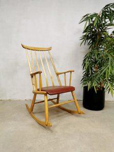 Vintage Danish spindle back rocking chair schommelstoel Farstrup Møbler