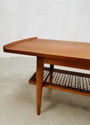 Vintage Dutch design webbing coffee table geweven salontafel teak hout