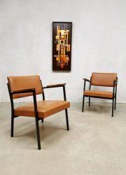 Vintage Dutch design industrial armchairs industriële stoelen 'minimalism'