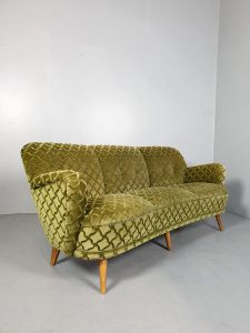 Vintage retro cocktail sofa bank green velvet 'ton sur ton'