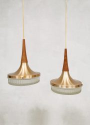 Vintage Danish design copper pendant lamp hanglamp 'duo wave'