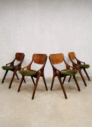 Vintage Danish velvet dining chairs eetkamerstoelen Hovmand Olsen Mogens Kold