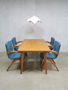 Vintage Dutch design dining set chairs stoelen tafel G. van Os Culemborg