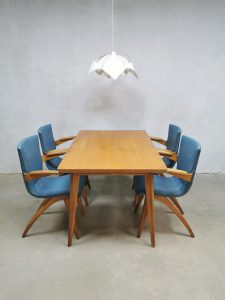 Vintage Dutch design dining set chairs stoelen tafel G. van Os Culemborg