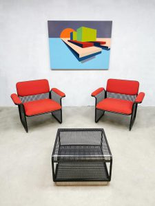 Arm chairs vintage seventies fauteuil coffeetable Italian Talin design lounge set