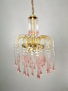 Vintage Italian design Murano glass chandelier kroonluchter Paolo Venini 'Teardrops'
