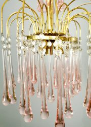 Italian seventies design kroonluchter Paolo Venini Italiaans chandelier Murano glass