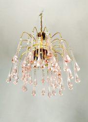 Paolo Venini jaren 70 kroonluchter Merano glas chandelier vintage design Italian
