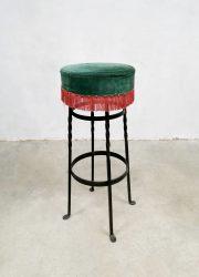 midcentury barstool moulin rouge fringe stools barkrukken kruk retro