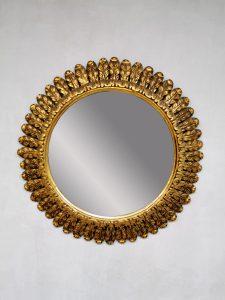Midcentury gold gilded sunburst mirror zonnespiegel XXL