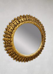 midcentury XXL sunburst mirror zonnespiegel French gold gilded 4