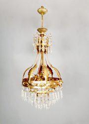 Midcentury gold gilded chandelier kroonluchter 'Hollywood regency luxury'