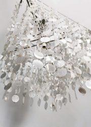 vintage 1980 kroonluchter Kare design pendant silver sparkles