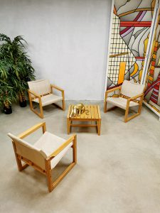 Midcentury design 'Diana' safari chairs lounge set Karin Mobring
