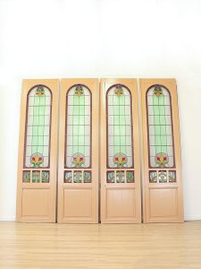 Vintage stained glass doors 'Jugendstil' glas in lood deuren