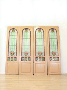Vintage stained glass doors 'Jugendstil' glas in lood deuren