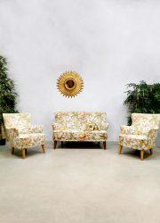 Vintage lounge set sofa lounge fauteuils Theo Ruth 'Botanical Jungle'