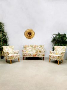 Vintage lounge set sofa lounge fauteuils Theo Ruth 'Botanical Jungle'