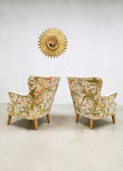 vintage flower print botanical lounge set Theo Ruth sofa chair fauteuil bank 8