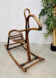 Midcentury Italian bamboo rattan rocking horse rotan bamboe hobbelpaard