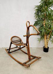 Midcentury Italian bamboo rattan rocking horse rotan bamboe hobbelpaard sixties jaren 60
