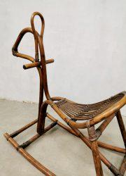 Vintage bamboo rattan rocking horse rotan bamboe hobbelpaard