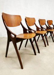 Vintage Danish dining chairs eetkamerstoelen Hovmand Olsen Mogens Kold 'Teak'