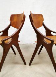 Jaren 60 vintage eetkamerstoelen Hovmand Olsen sixties Danish Deens dining chairs Mogens Kold midcentury chair