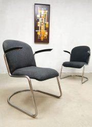 Vintage Dutch design arm chairs lounge fauteuils nr. 413 W.H Gispen