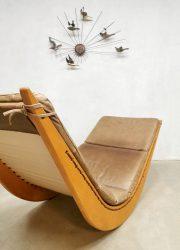 midcentury design rocking chair schommel stoel leather leer