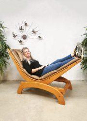 midcentury design rocking chair schommel stoel leather