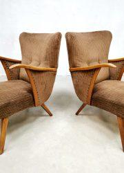 midcentury design armchair lounge fauteuils corduroy fabric 4