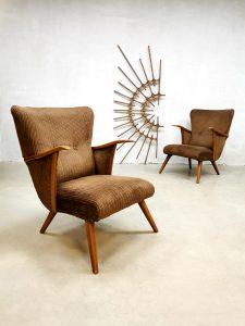 Vintage design armchairs wingback chair lounge fauteuils 'Corduroy lovebirds'