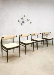 Vintage Danish design dining chairs eetkamerstoelen 'wingback'