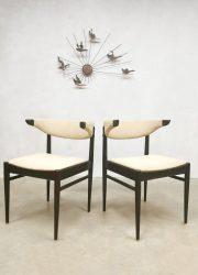 Midcentury vintage dining chairs sixties eetkamerstoelen Danish design Deens