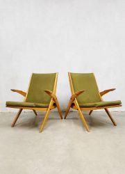 Scissor leg armchairs vintage lounge set fauteuils midcentury design