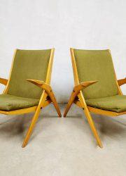 Vintage design armchairs lounge fauteuils 'scissor legs'