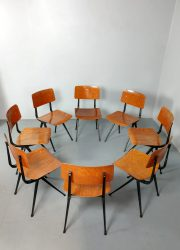 Vintage Dutch industrial school chairs schoolstoelen 'Result' Friso Kramer