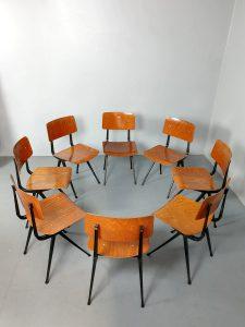 Vintage Dutch industrial school chairs schoolstoelen 'Result' Friso Kramer