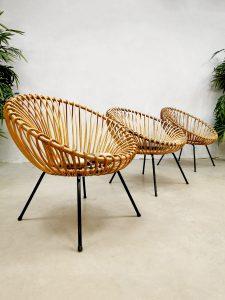 Rare vintage design rattan easy chairs rotan lounge stoelen 'Boho vibes'