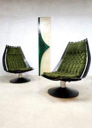 Vintage design easy swivel chairs lounge fauteuils Hans Brattrud Norway