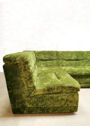 crushed velvet vintage sofa green modular bank